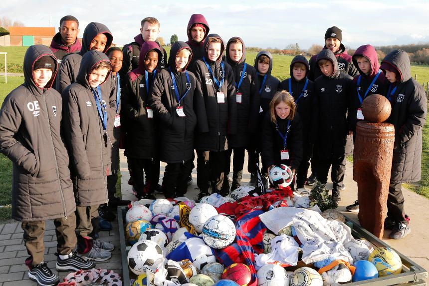 West Ham Under-12s at Christmas Truce Memorial, Ypres