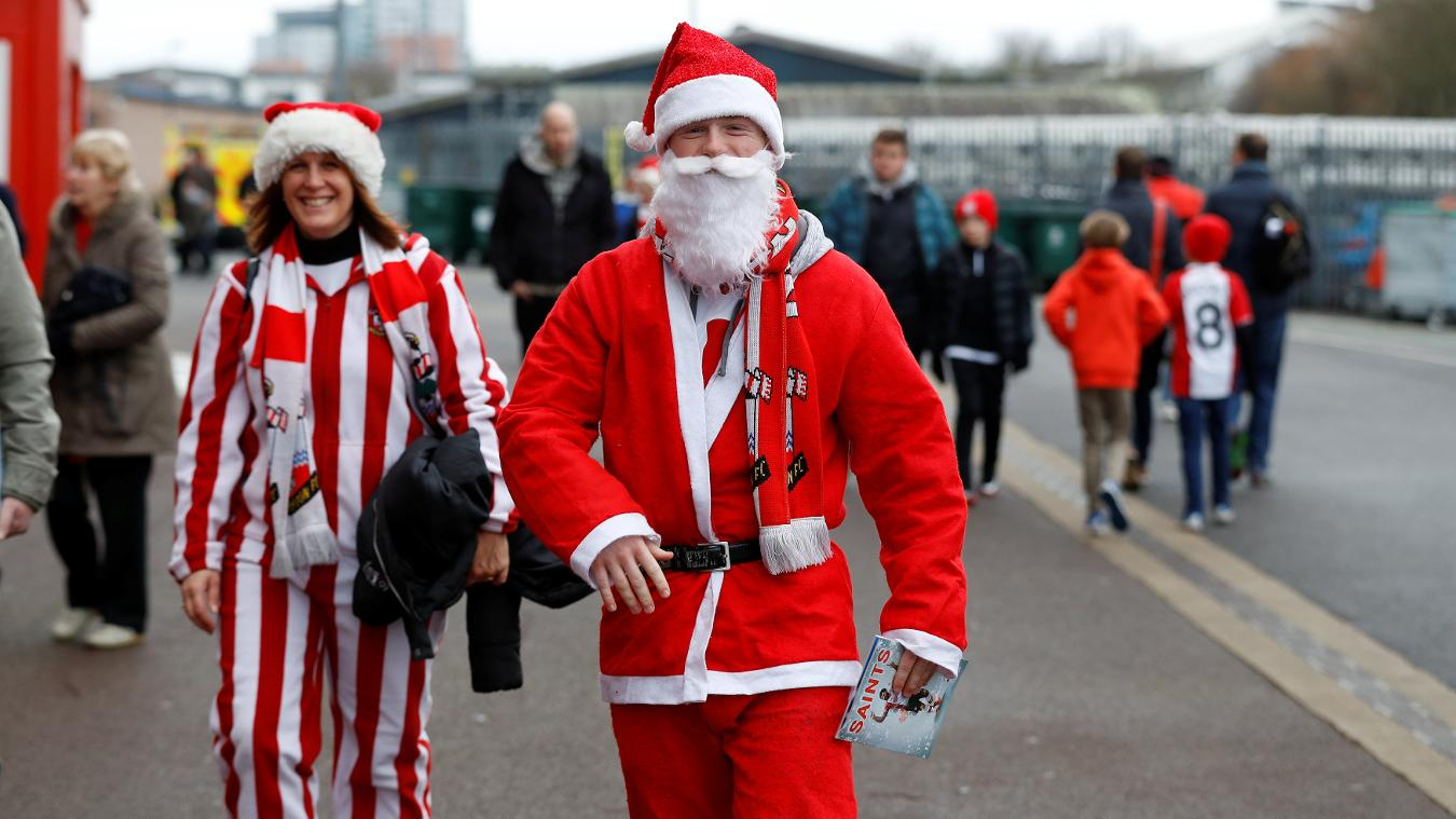 Southampton fans in festive outfits