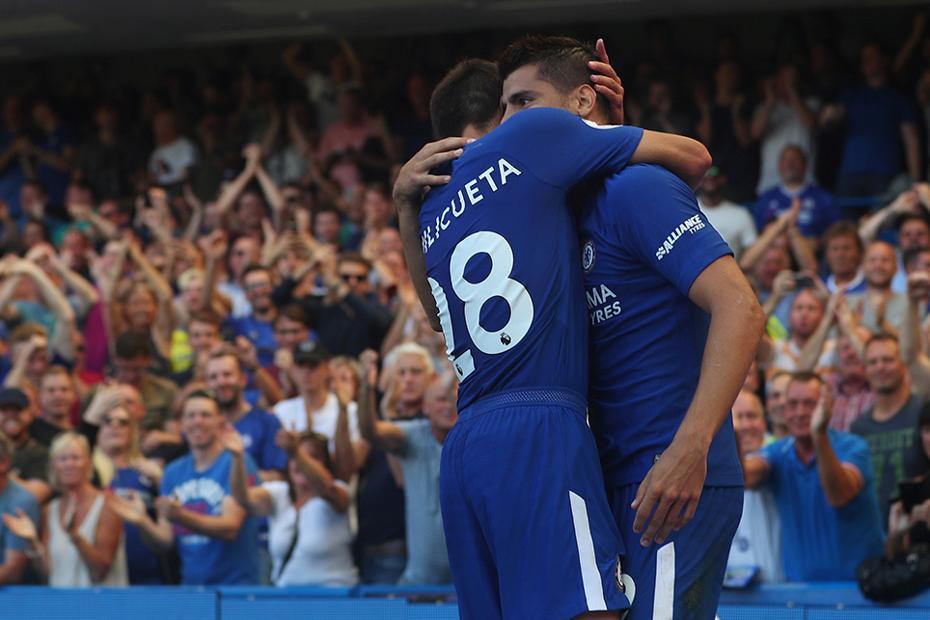 Cesar Azpilicueta and Alvaro Morata, Chelsea
