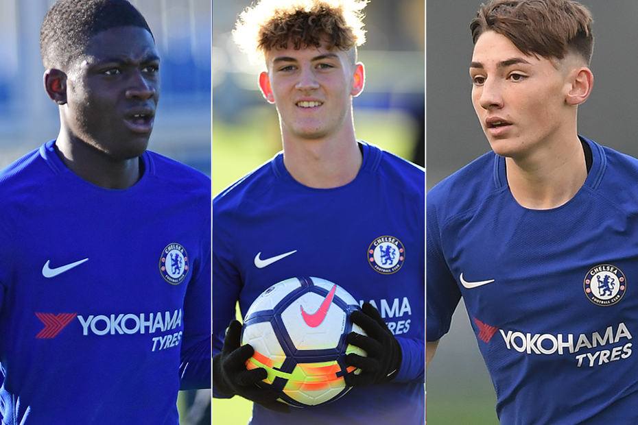 Clinton Mola, Charlie Brown and Billy Gilmour, Chelsea Under-18s