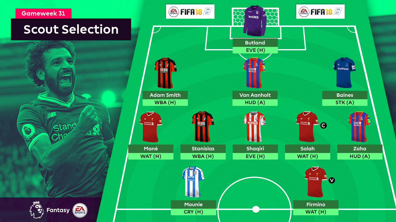 A graphic of the FPL Gameweek 31 Scout Selection