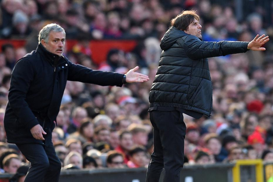 Jose Mourinho, Man Utd manager, and Antonio Conte of Chelsea