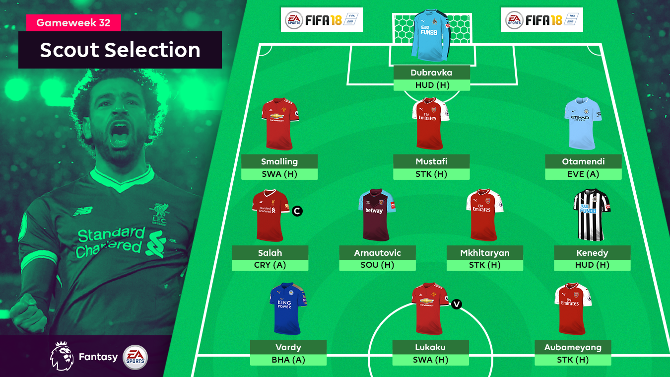 A graphic of the FPL Scout Selection for Gameweek 32