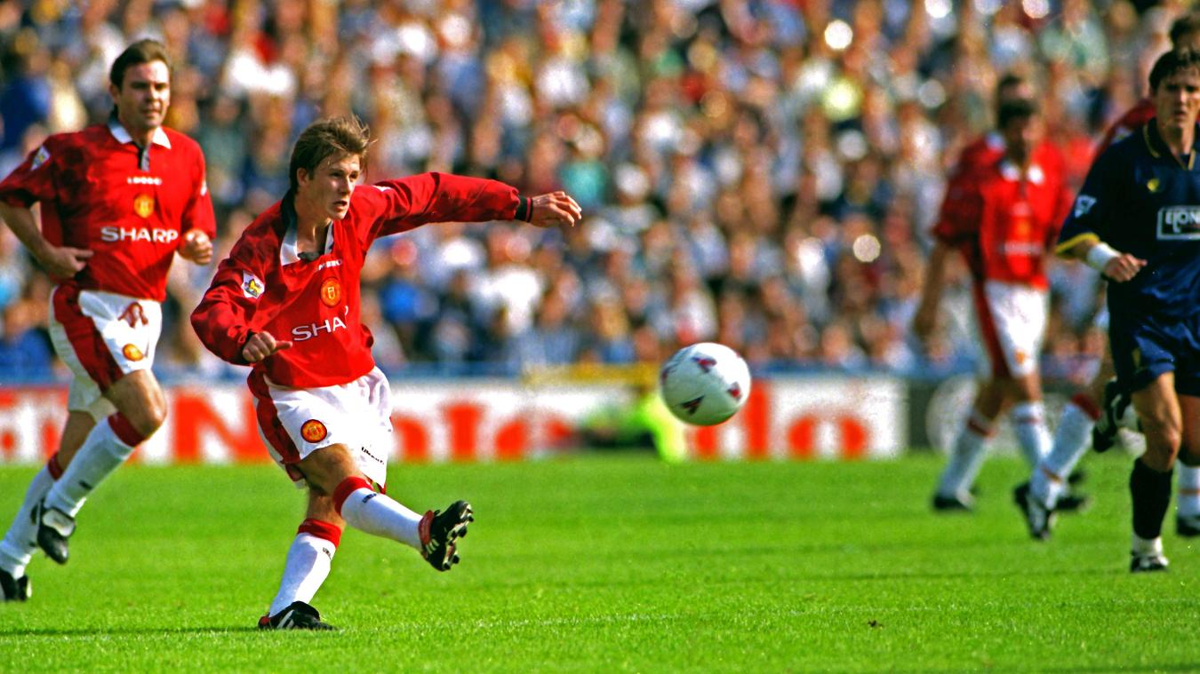 David Beckham scores against Wimbledon