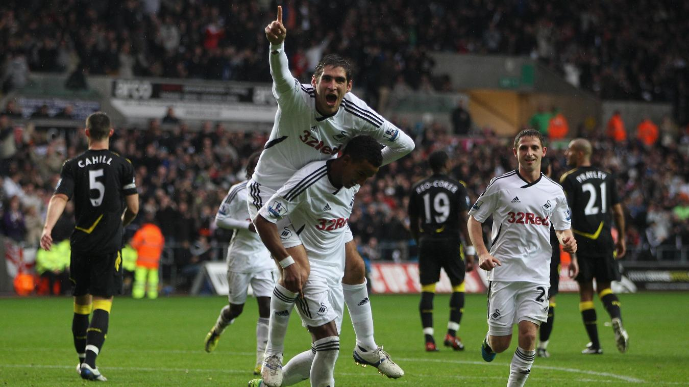 Danny Graham and Scott Sinclair, Swansea celebration in 2011/12