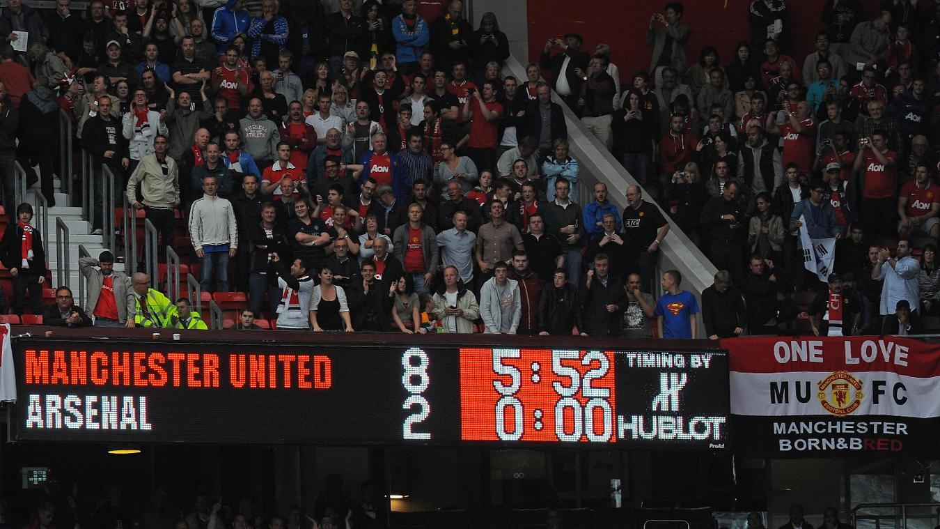 Manchester United 8, Arsenal 2 scoreboard in 2011/12