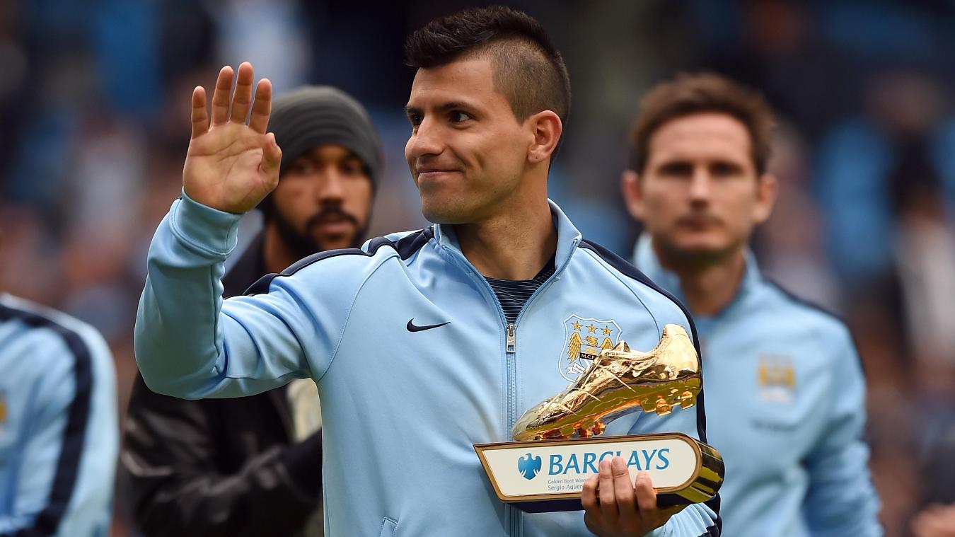 Sergio Aguero, Man City with Golden Boot award in 2014/15