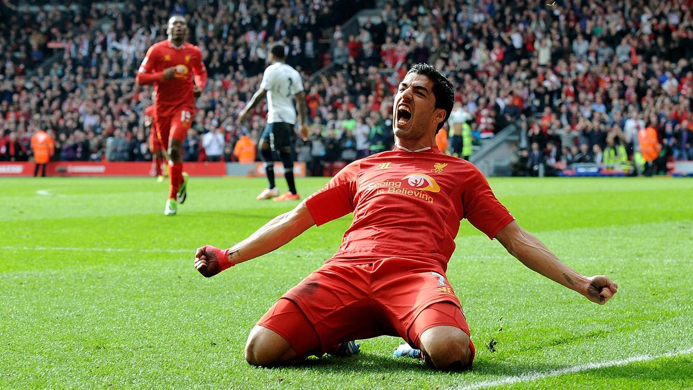 Luis Suarez, Liverpool celebration in 2013/14