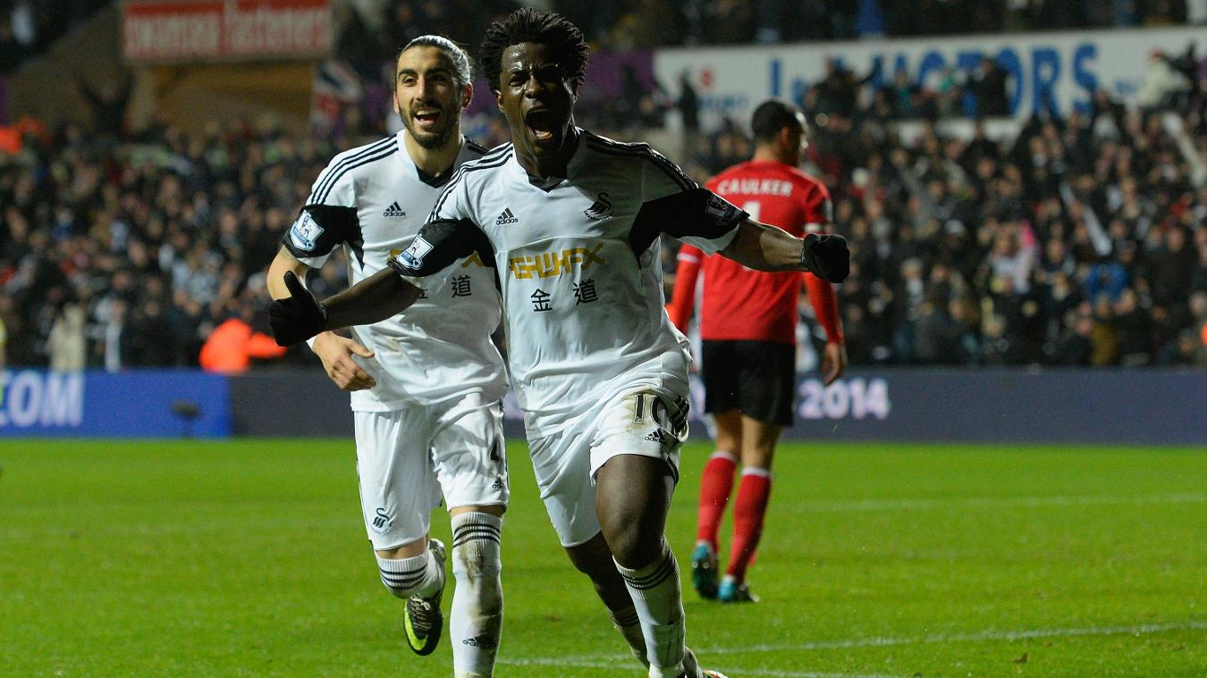 Wilfried Bony, Swansea celebration in 2013/14