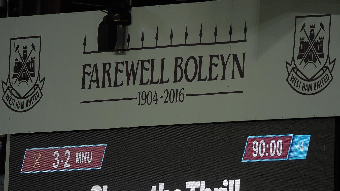 Boleyn Ground, West Ham scoreboard in 2015/16