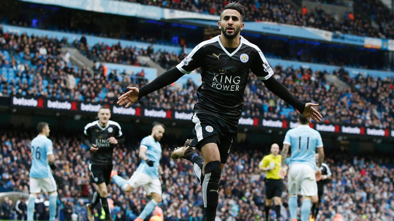 Riyad Mahrez, Leicester celebration in 2015/16
