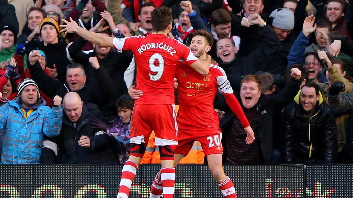 Jay Rodriguez and Adam Lallana, Southampton celebration in 2013/14