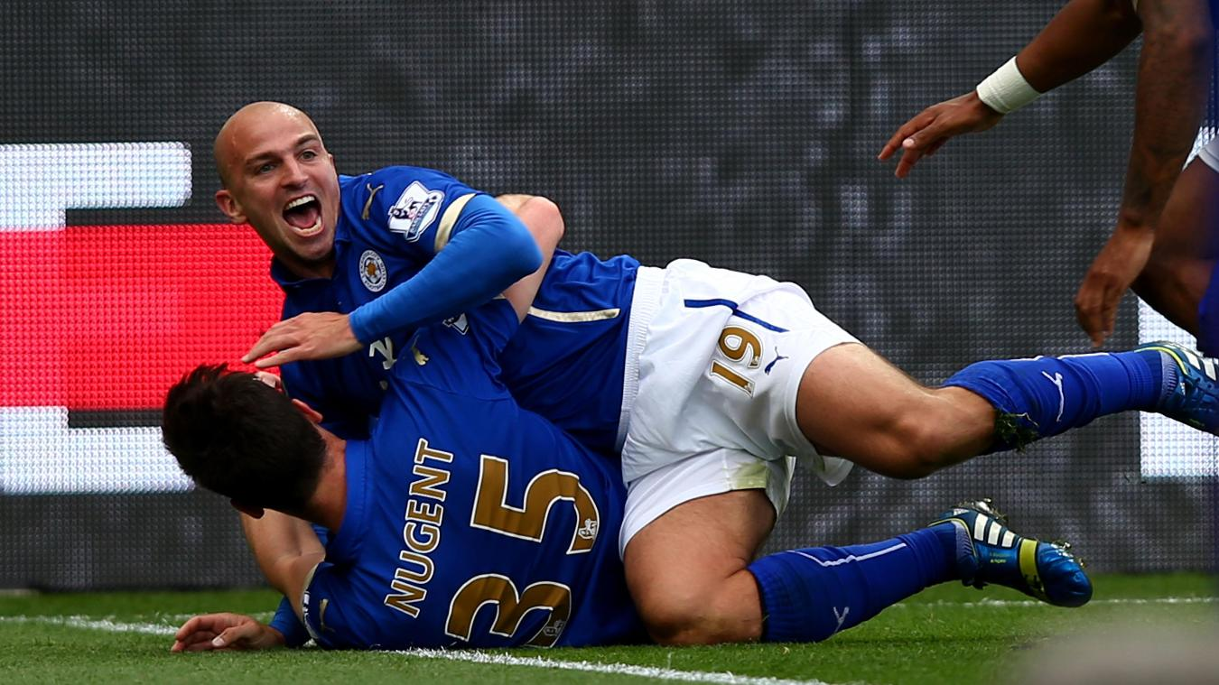 David Nugent and Esteban Cambiasso, Leicester celebration in 2014/15