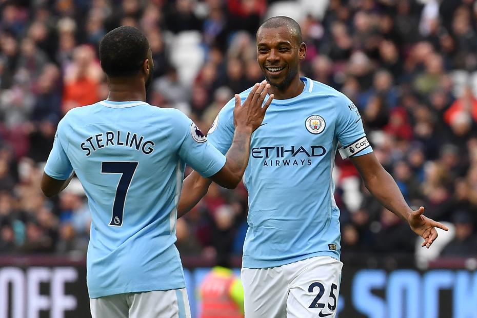 Raheem Sterling and Fernandinho, Man City