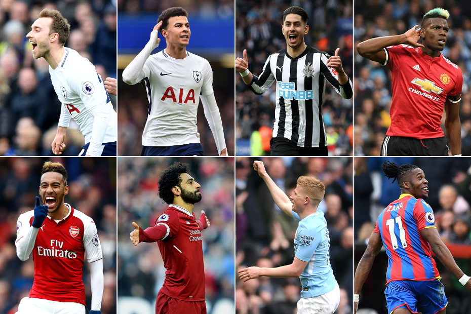 A graphic of the players on the shortlist for the April 2018 Carling Goal of the Month award