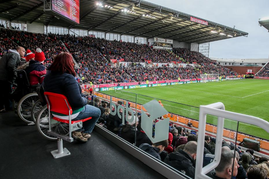 Wheelchair-using fans attend Stoke v AFC Bournemouth in 2017/18