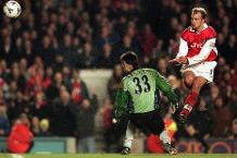 Dennis Bergkamp scores Arsenal's third against Sheffield Wednesday