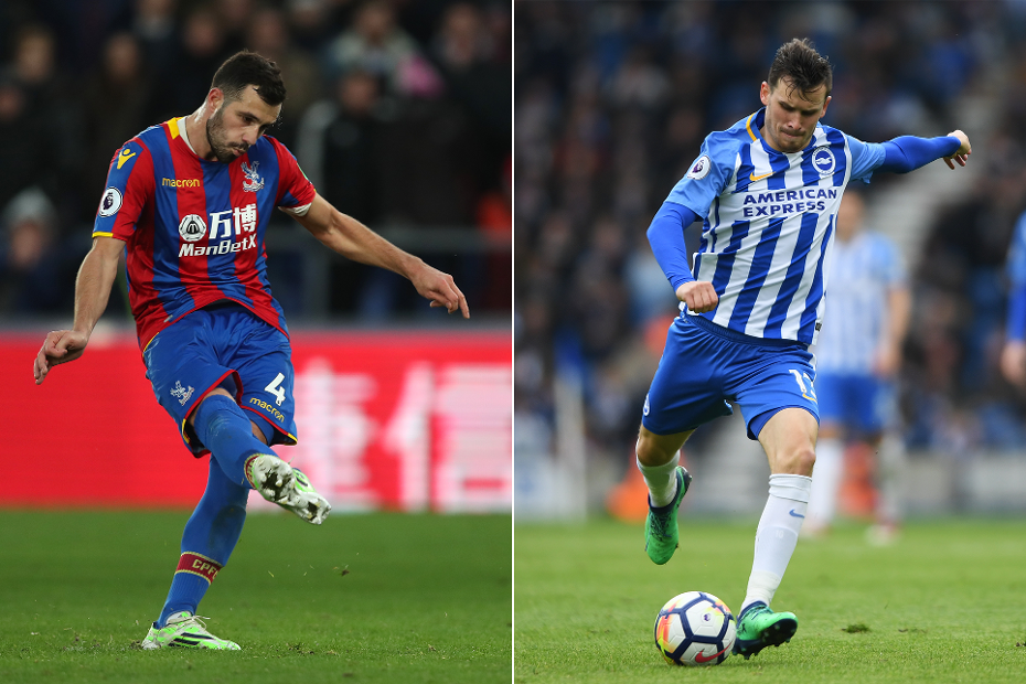 Luka Milivojevic, of Crystall Palace, and Pascal Gross, of Brighton