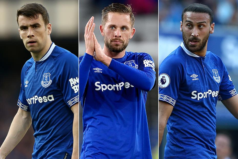 Everton's Seamus Coleman, Gylfi Sigurdsson and Cenk Tosun