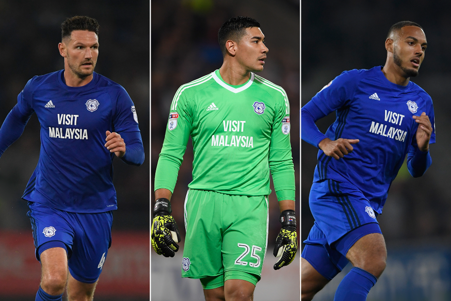 Sean Morrison, Neil Etheridge and Kenneth Zohore, of Cardiff City