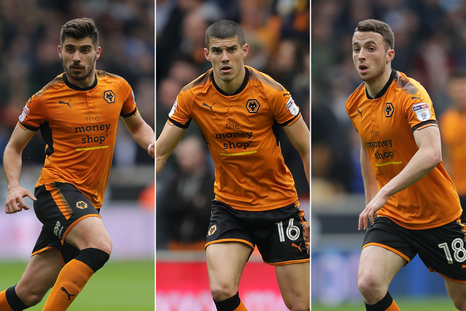Ruben Neves, Conor Coady and Diogo Jota, of Wolves