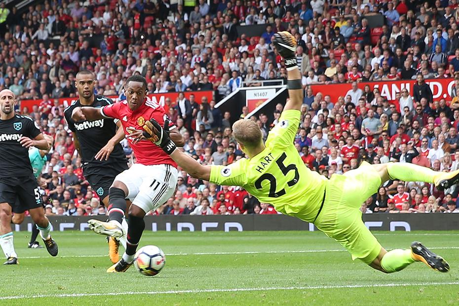 Anthony Martial scores against West Ham United