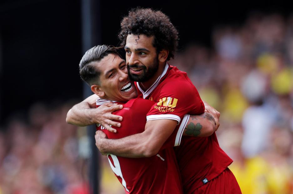 Roberto Firmino and Mohamed Salah, Liverpool