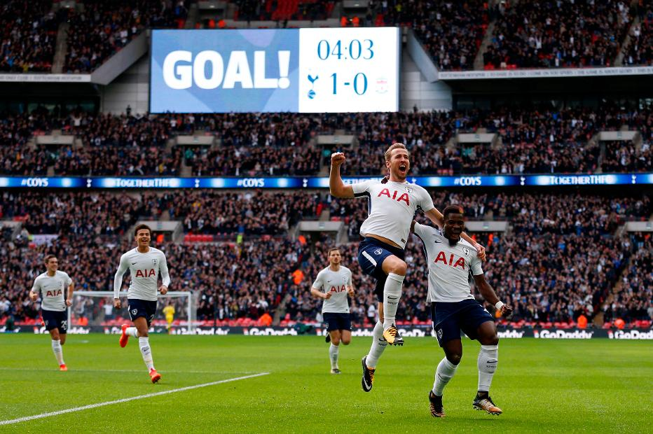 Harry Kane celebrates scoring at Wembley Stadium