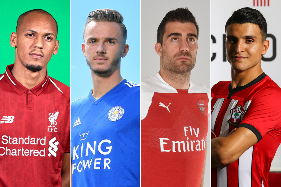 Fabinho, of Liverpool, James Maddison, of Leicester City,  Arsenal's Sokratis and Southampton's Mohamed Elyounoussi