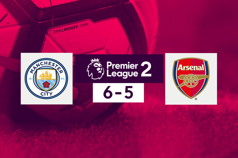 Man City v Arsenal PL2 score graphic