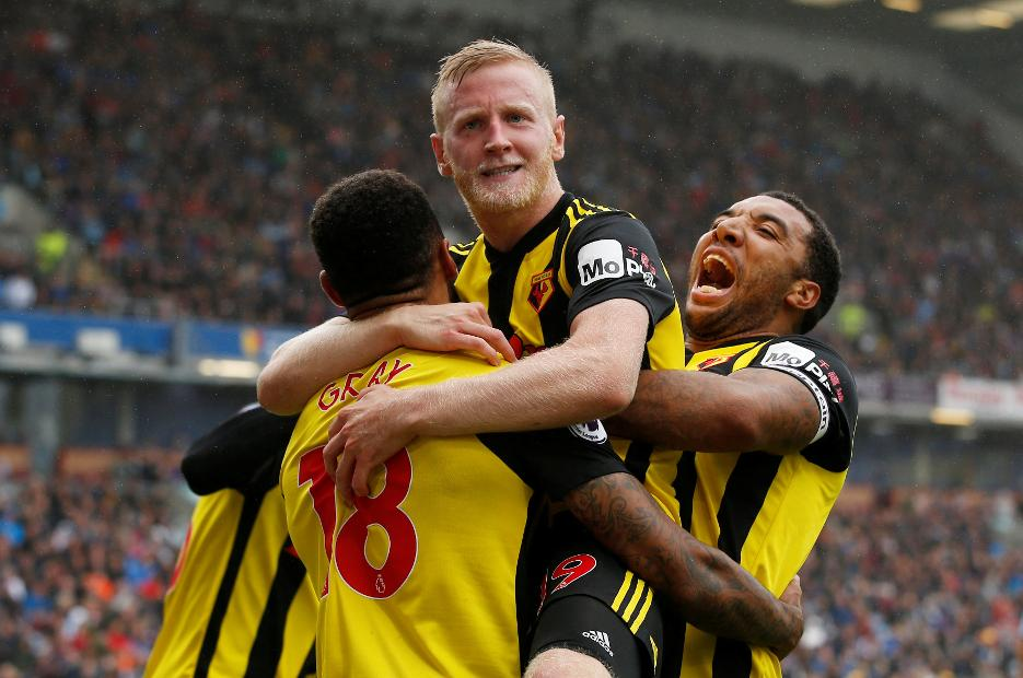 Burnley v Watford - Watford celebrate Will Hughes's goal