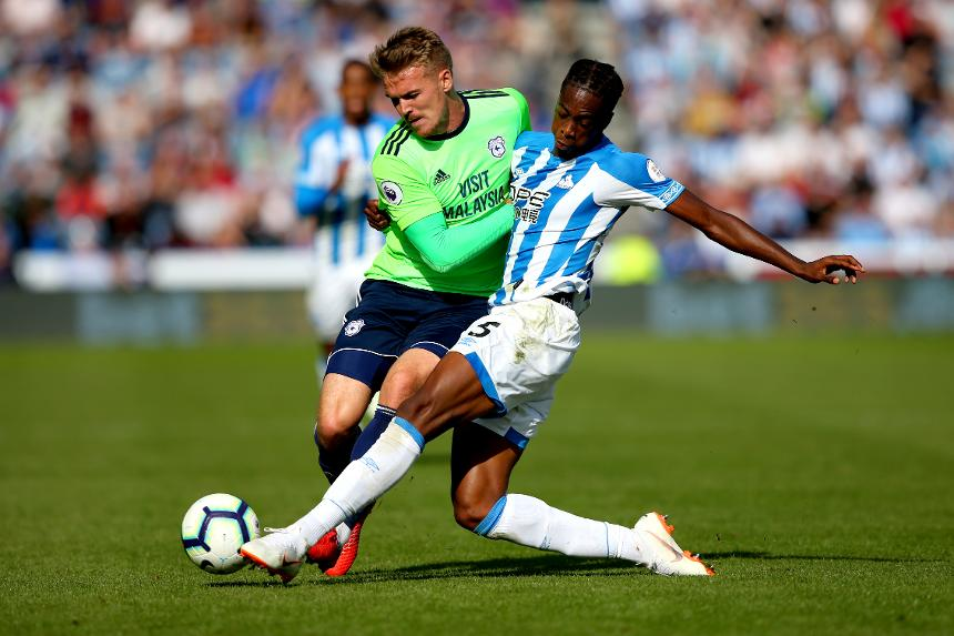 Huddersfield Town v Cardiff City - Danny Ward and Terence Kongolo