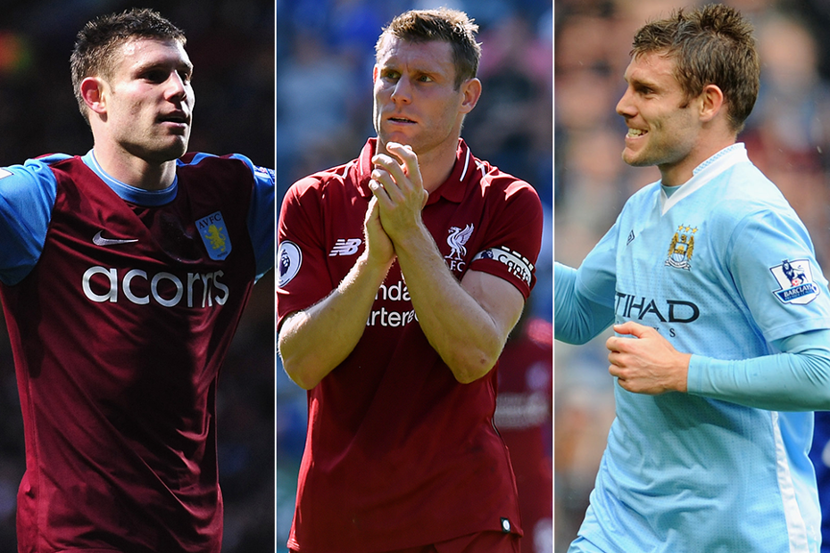 James Milner in action for Aston Villa (left), Liverpool (centre) and Man City (right)