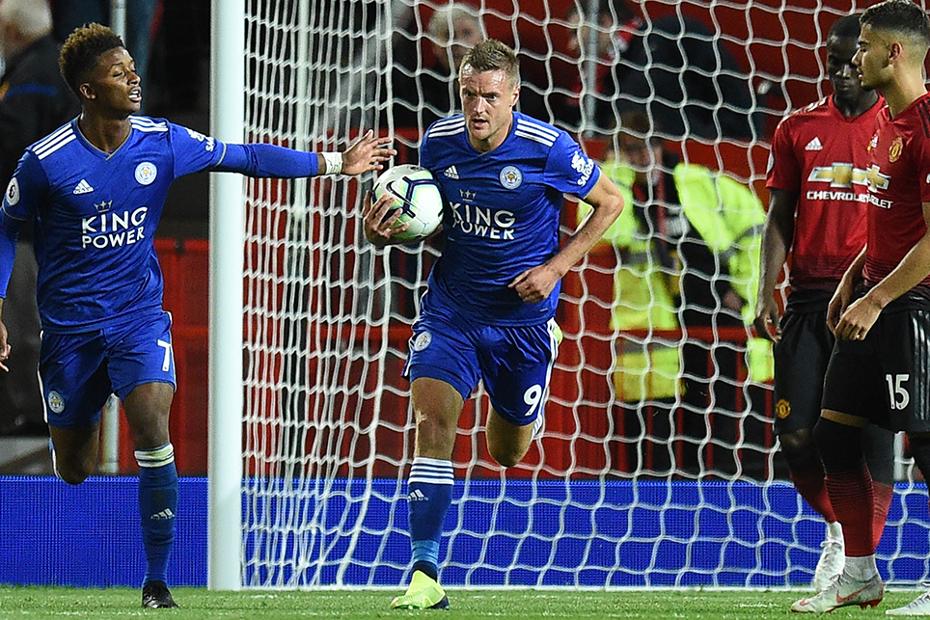 Jamie Vardy, Leicester City goal v Man Utd