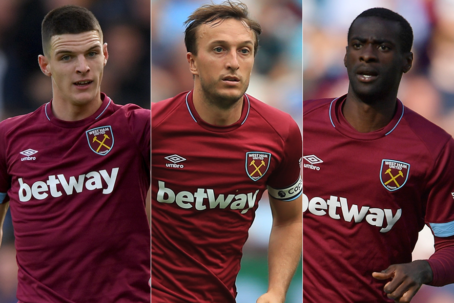 West Ham's Declan Rice, Mark Noble and Pedro Obiang