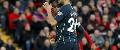 Riyad Mahrez reacts to missed penalty, Liverpool v Man City