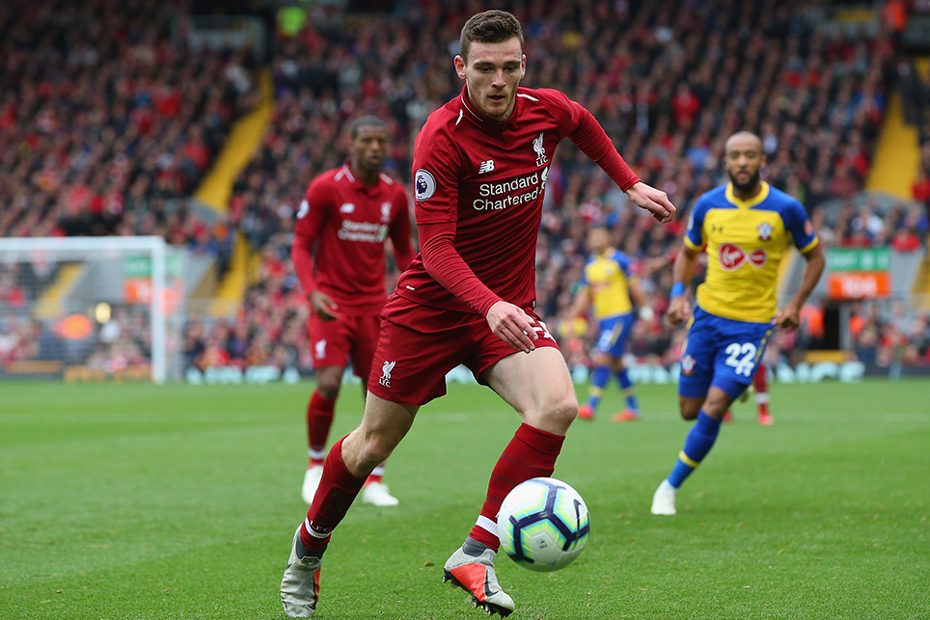 Liverpool's Andrew Robertson in action against Southampton