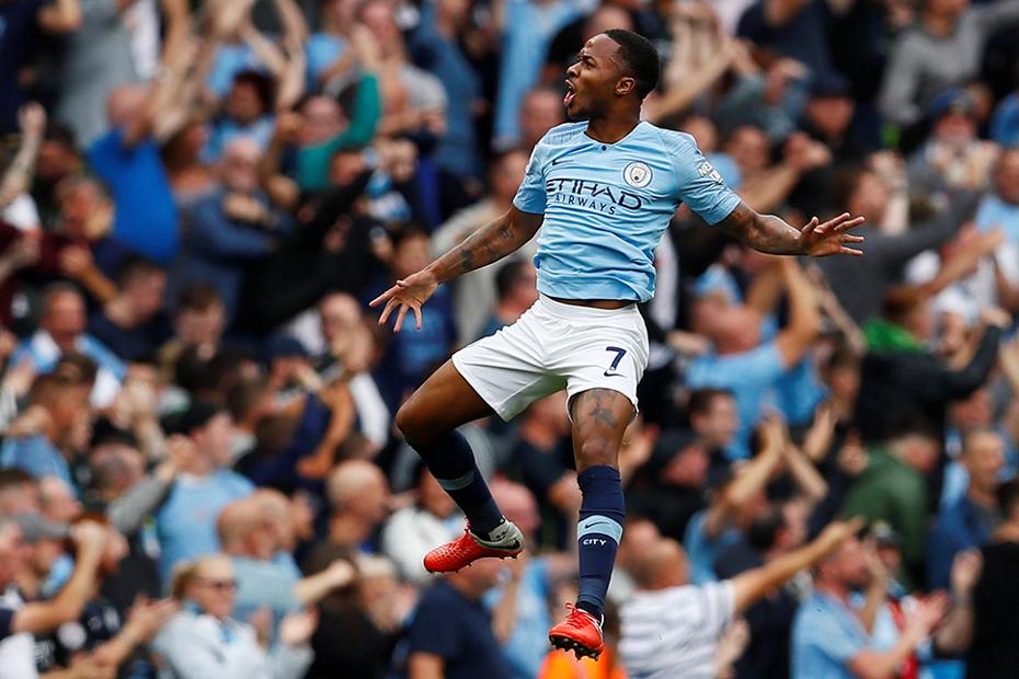 Manchester City's Raheem Sterling celebrates scoring against Newcastle