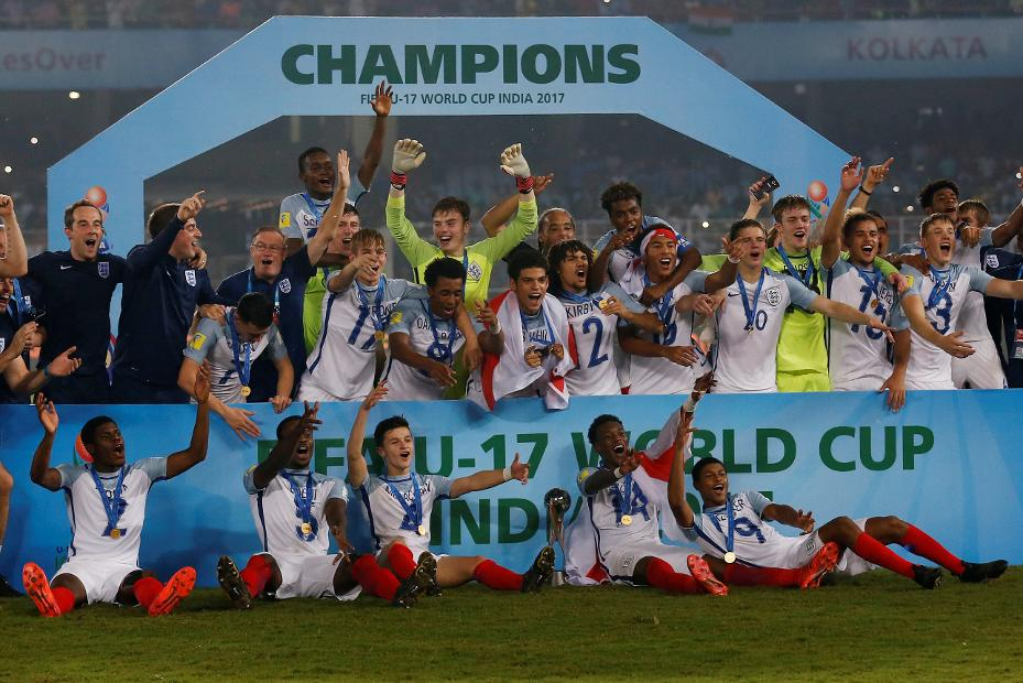 England celebrate winning FIFA Under-17 World Cup