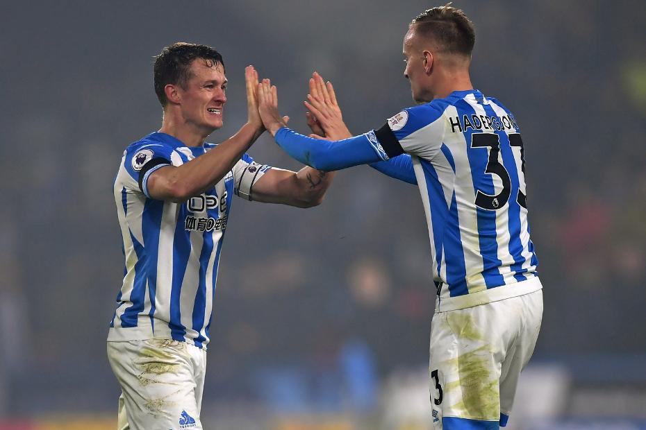 Huddersfield players celebrate