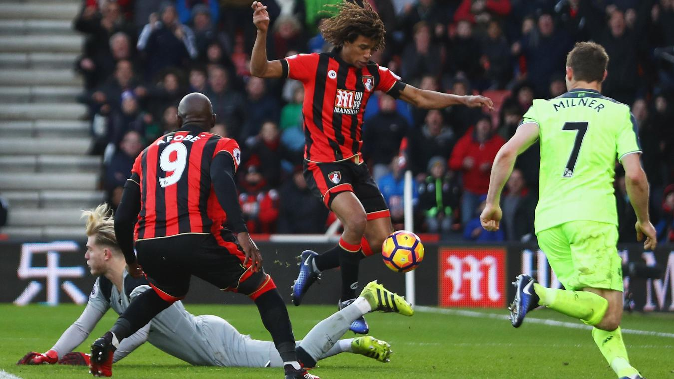 Nathan Ake scores for Bournemouth versus Liverpool, 2016/17