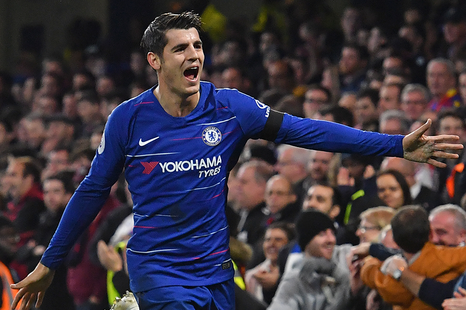 Chelsea's Alvaro Morata celebrates scoring against Crystal Palace