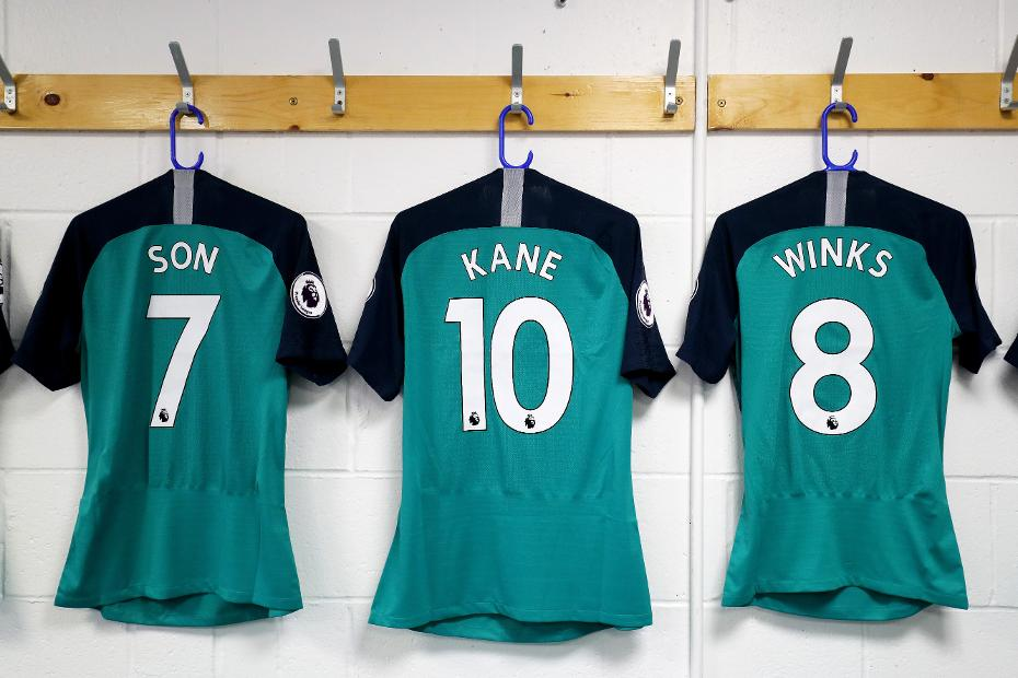 Spurs shirts with names and numbers