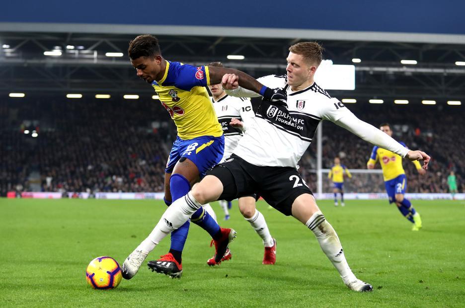 Mario Lemina of Southampton battles with Fulham's Alfie Mawson