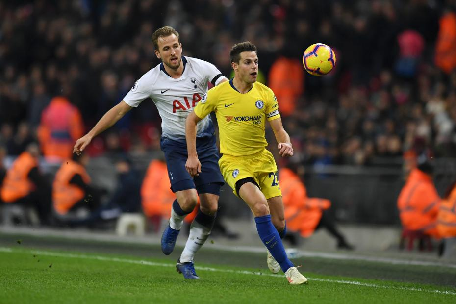 Chelsea's Cesar Azpilicueta and Harry Kane of Spurs