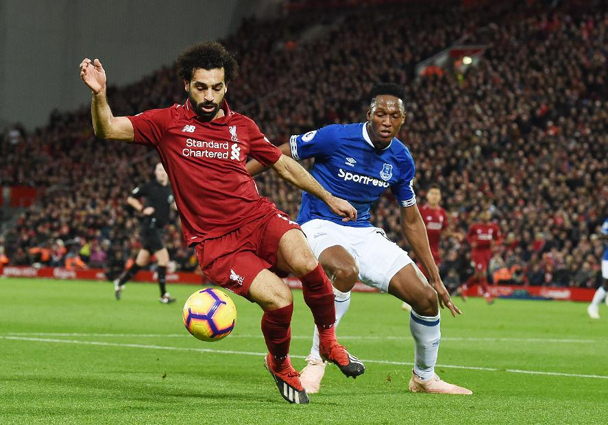 Mohamed Salah in action against Everton
