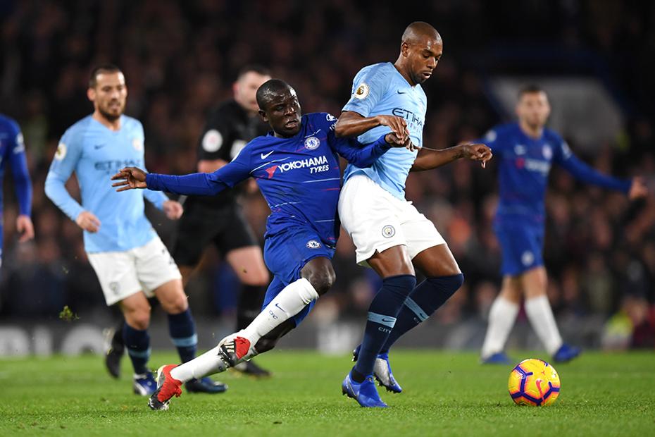 Chelsea's N'Golo Kante and Man City's Fernandinho