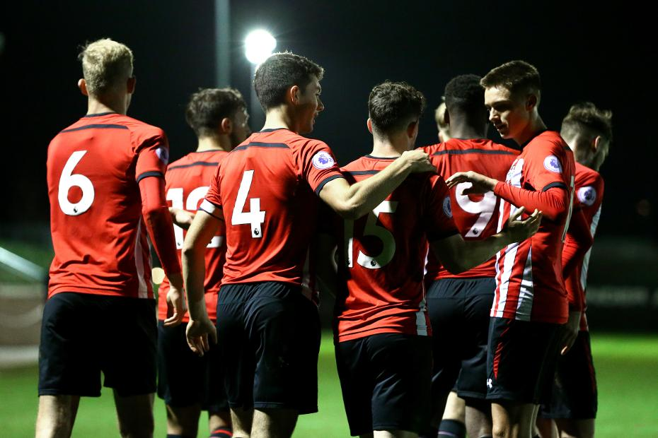 Southampton players celebrate scoring against West Ham in the International Cup