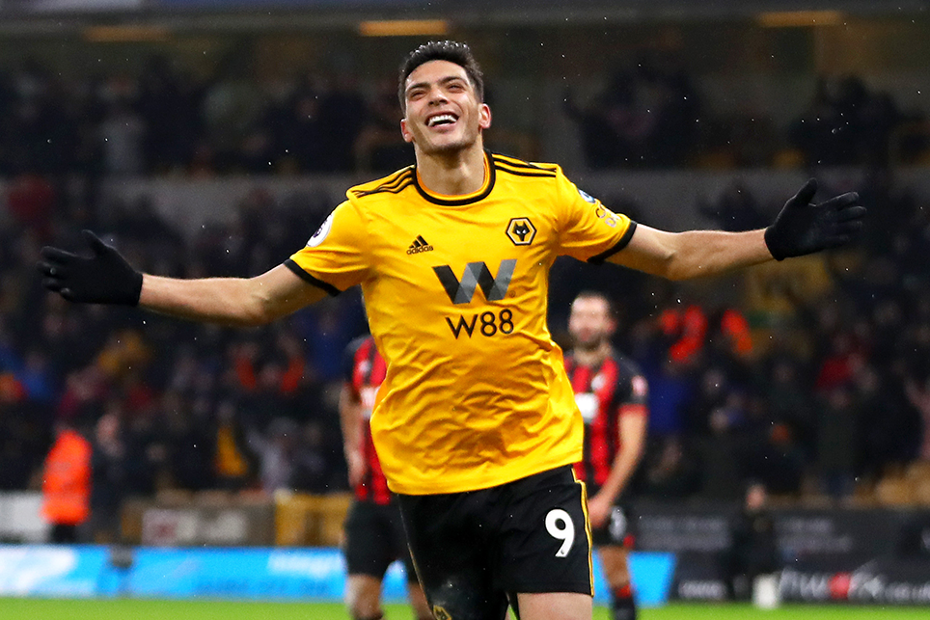 Raul Jimenez celebrates scoring against AFC Bournemouth