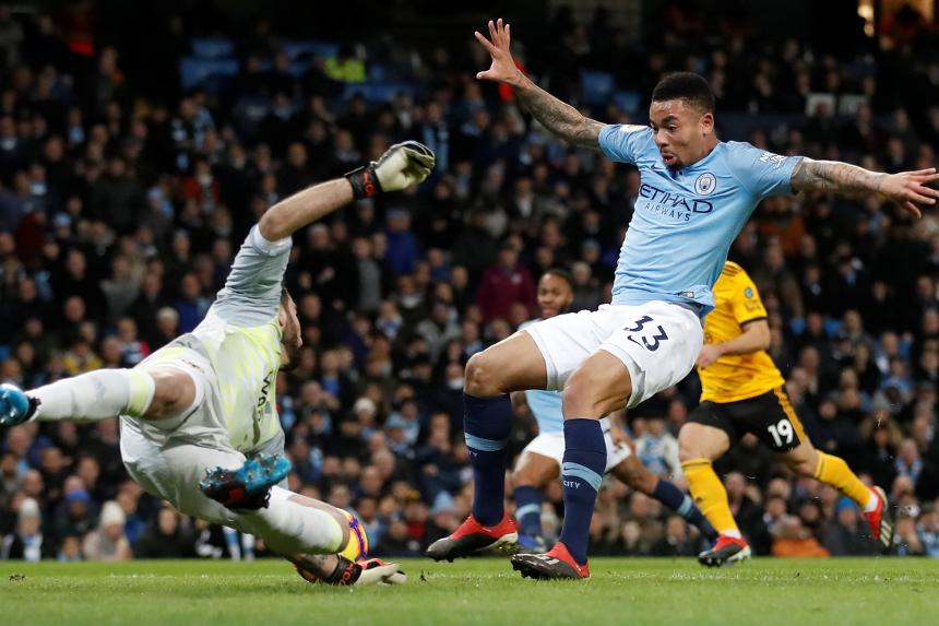 Gabriel Jesus, Man City v Wolves first goal
